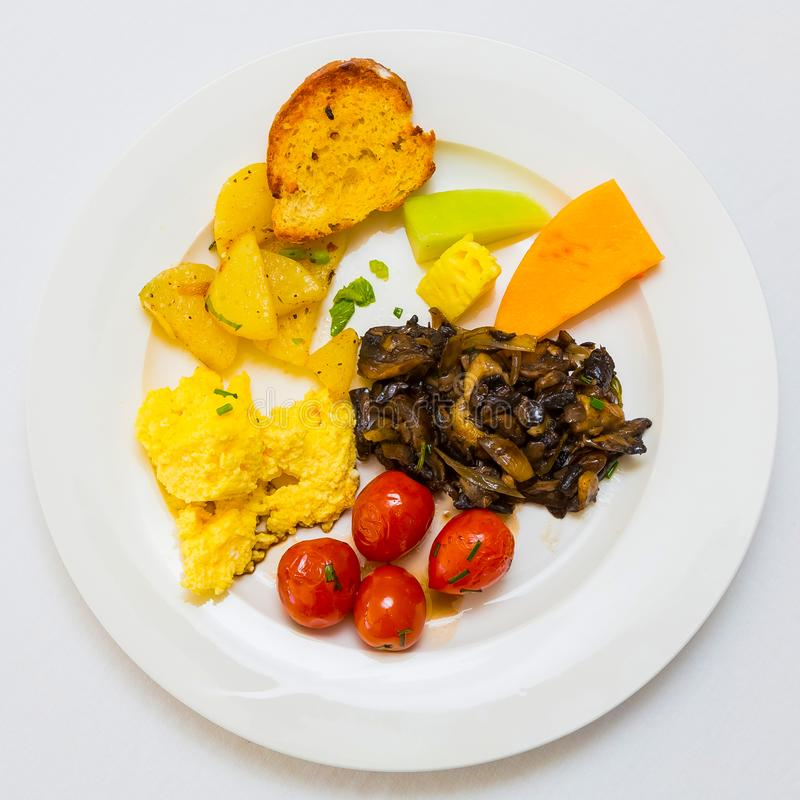 Flat Lay Top View Breakfast Brunch mixed plate. At Spring Festival picnic event stock images