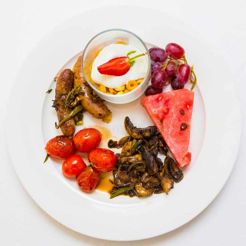 Flat Lay Top View Breakfast Brunch mixed plate. At Spring Festival picnic event stock photos
