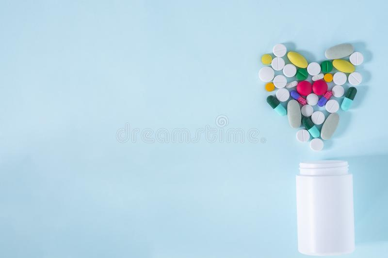 Flat Lay, Top View of Colorful, Assorted Pharmaceutical fotografia stock