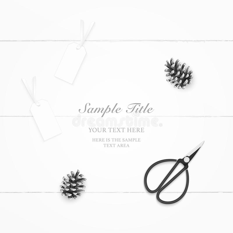 Flat lay top view elegant composition paper pine cone tags and vintage metal scissors on wooden background royalty free illustration