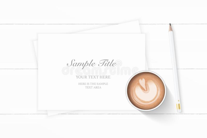 Flat lay top view elegant white Christmas composition paper pencil and coffee on wooden background. A Flat lay top view elegant white Christmas composition paper royalty free illustration