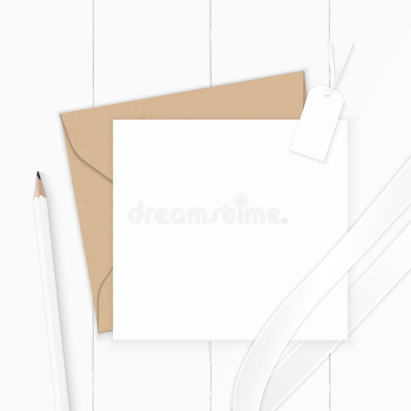 Flat lay top view elegant white composition letter kraft paper envelope pencil tag and silk ribbon on wooden background. A Flat lay top view elegant white stock illustration
