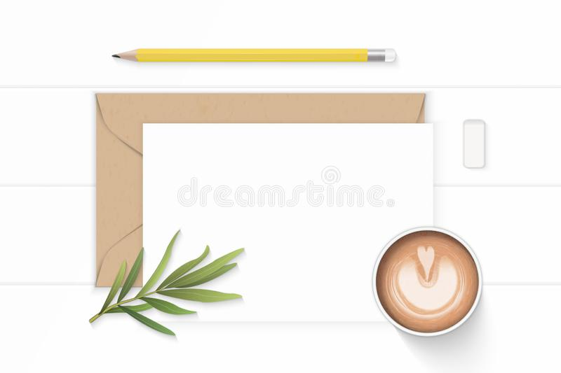 Flat lay top view elegant white composition letter kraft paper envelope yellow pencil eraser tarragon leaf and coffee on wooden. A Flat lay top view elegant stock illustration