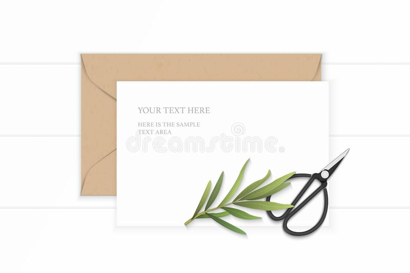 Flat lay top view elegant white composition letter paper kraft envelope tarragon and vintage metal scissors on wooden background stock photo