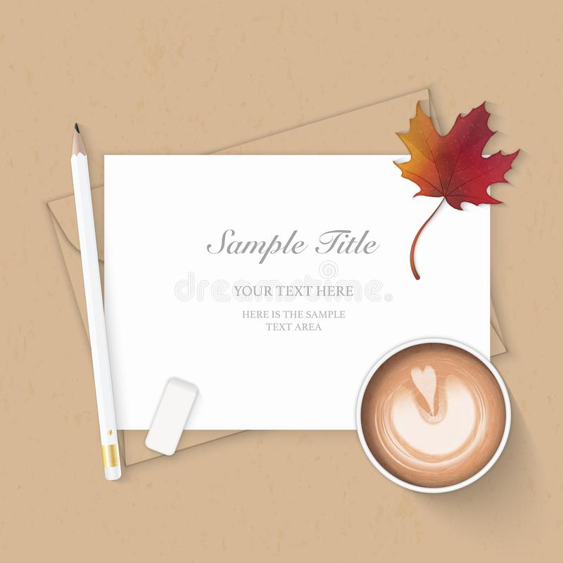 Flat lay top view elegant white composition paper kraft envelope coffee pencil eraser and autumn maple leaf on wooden background.  royalty free illustration