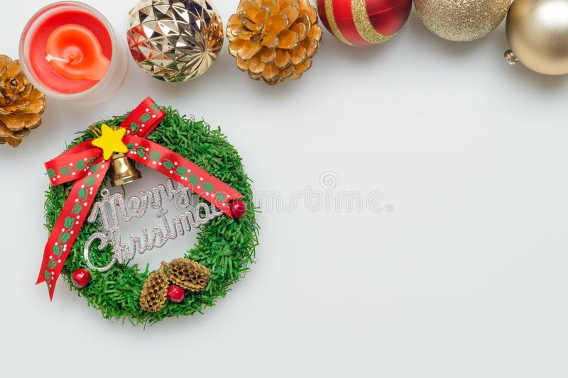 Flat lay top view of Merry Christmas sign and Christmas ornaments ball with copy space. Background, balls, border, card, celebration, concept, craft, creative stock photo