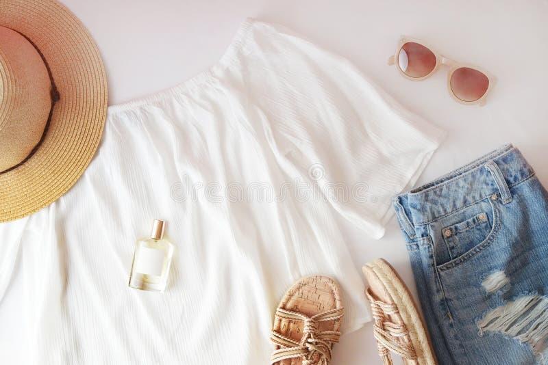 Flat lay trendy fashion feminine background. Fashion beauty background. Summer look trend. stock photo
