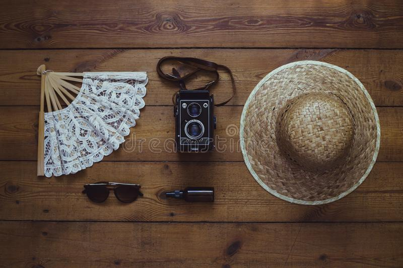 Flat lay with vintage summer accessories. stock images