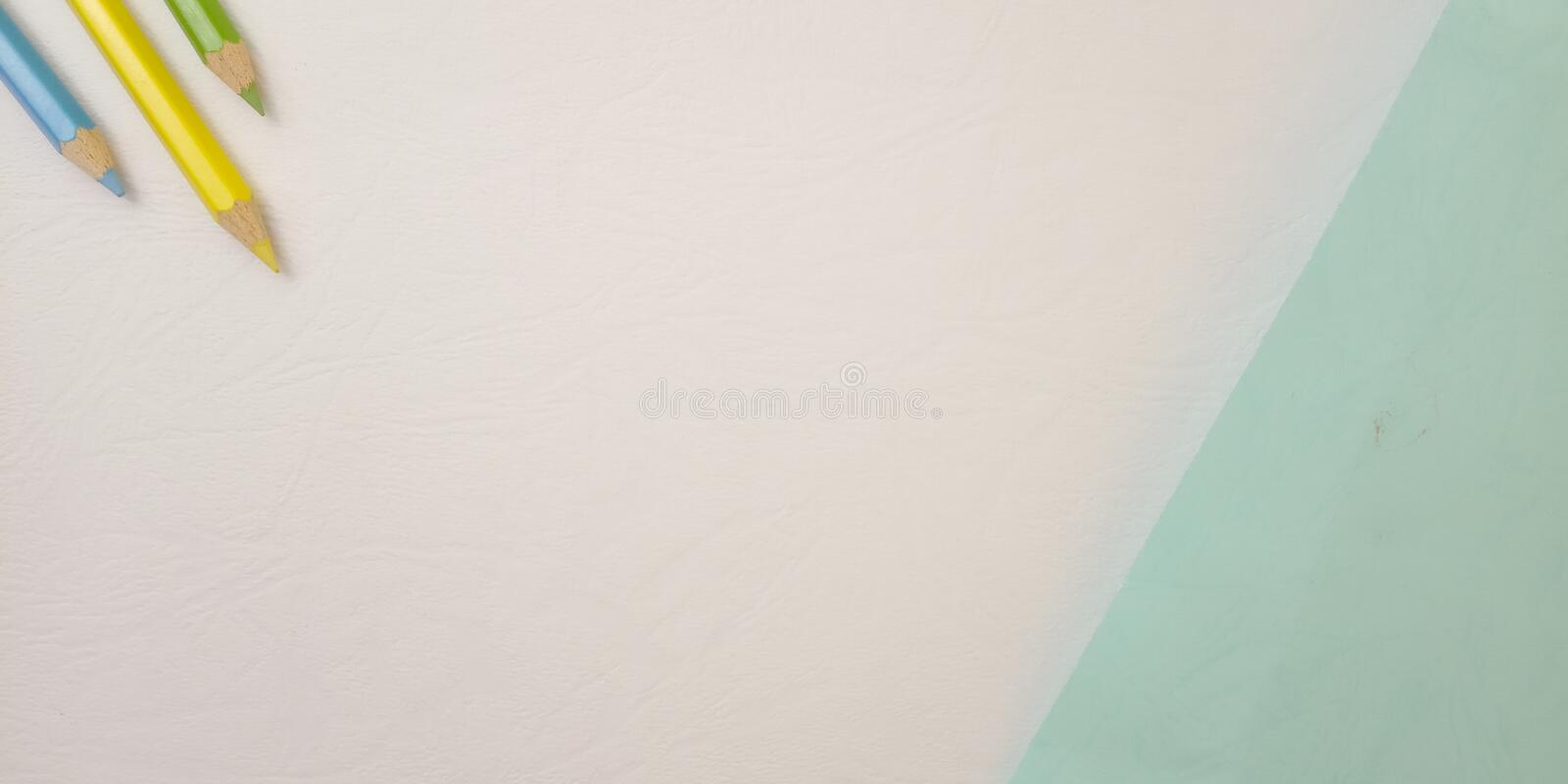 Flat Lay, White Photo Blank Template for Background Element Design for message, quote, information text placement with Blue Pencil. White Photo Blank Template royalty free stock photos