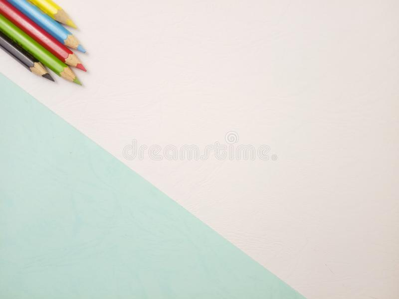 Flat Lay, White Photo Blank Template for Background Element Design for message, quote, information text placement with Blue Pencil. White Photo Blank Template royalty free stock image