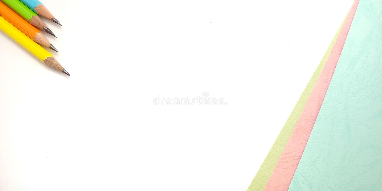 Flat Lay, White Pink Blue Photo Blank Template for Background Element Design for message, quote, information text placement with. Pencil royalty free stock photo