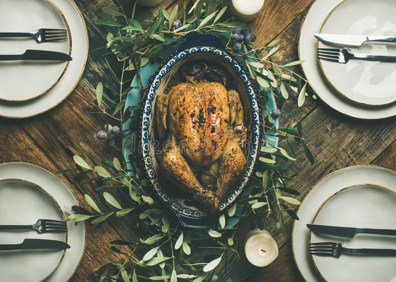 Download Flat-lay Of Whole Roasted Chicken For Christmas Celebration, Top View Stock Photo - Image of background, chicken: 104841206