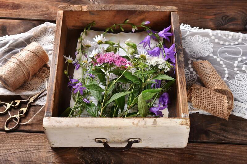 Flat lay with wildflowers in vintage wooden drawer stock images