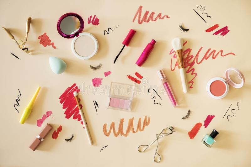 Flat lay of woman makeup swatches stock image