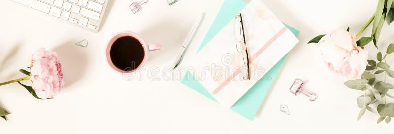 Flat lay women`s office desk. Female workspace stock photo