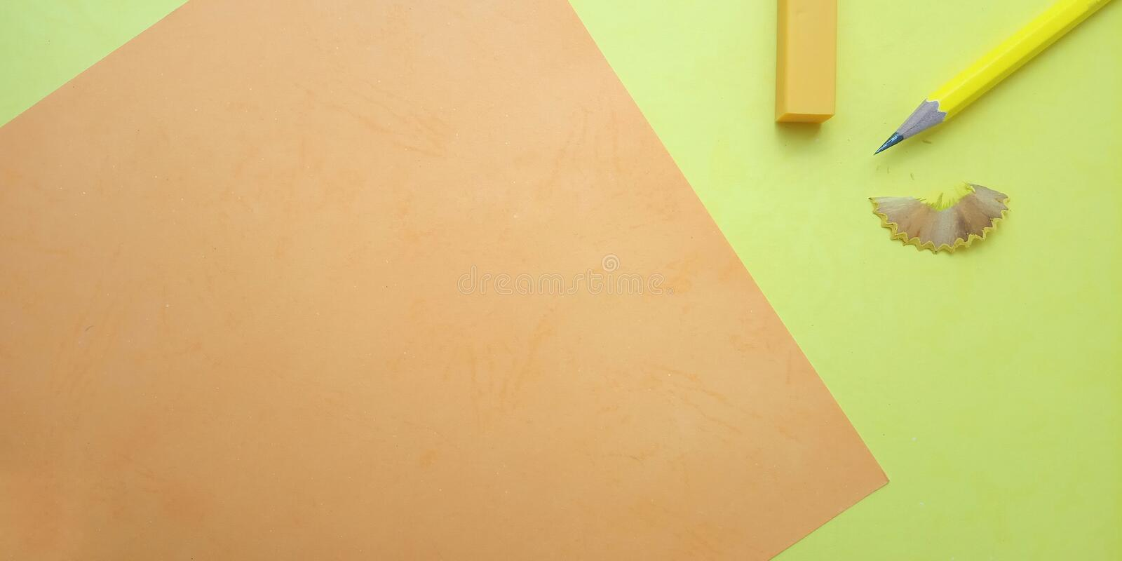 Flat Lay, Yellow and Orange Photo Blank Template for Background Element Design for message, quote, information text placement. Yellow and Orange Photo Blank stock image