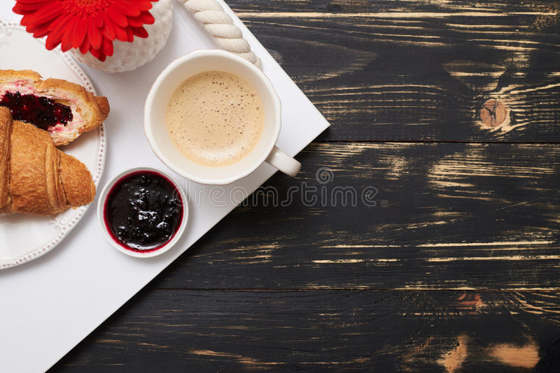 Flat lay of yummy breakfast stock photography