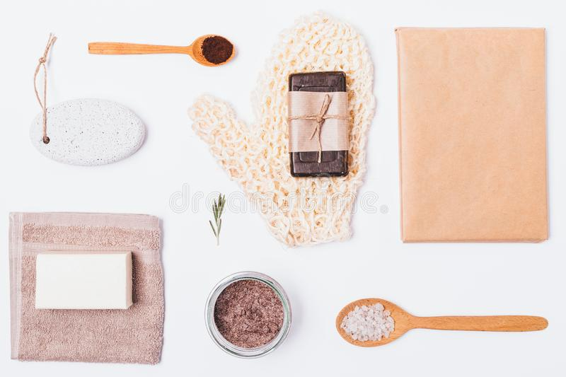 Flat layout of products and accessories stock photography