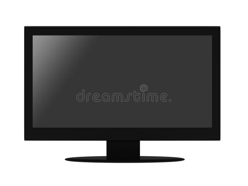 Flat LCD TV. Black flat LCD TV isolated on white background. High quality 3d render royalty free illustration