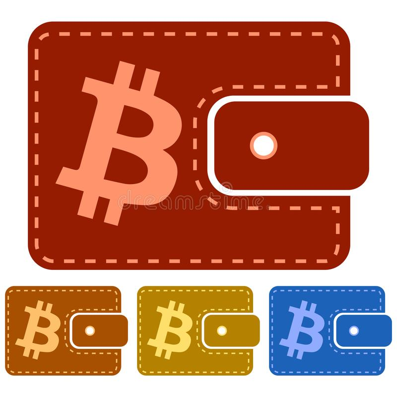 Flat, leather bitcoin wallet icon. Four variations. Dashed line inside royalty free illustration