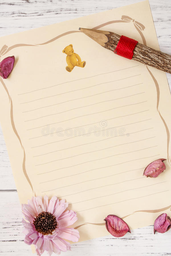 Flat let stock photography white plank table letter paper flower bear doll wood pencil. Flat let stock photography white plank table letter paper flower wood royalty free stock photo