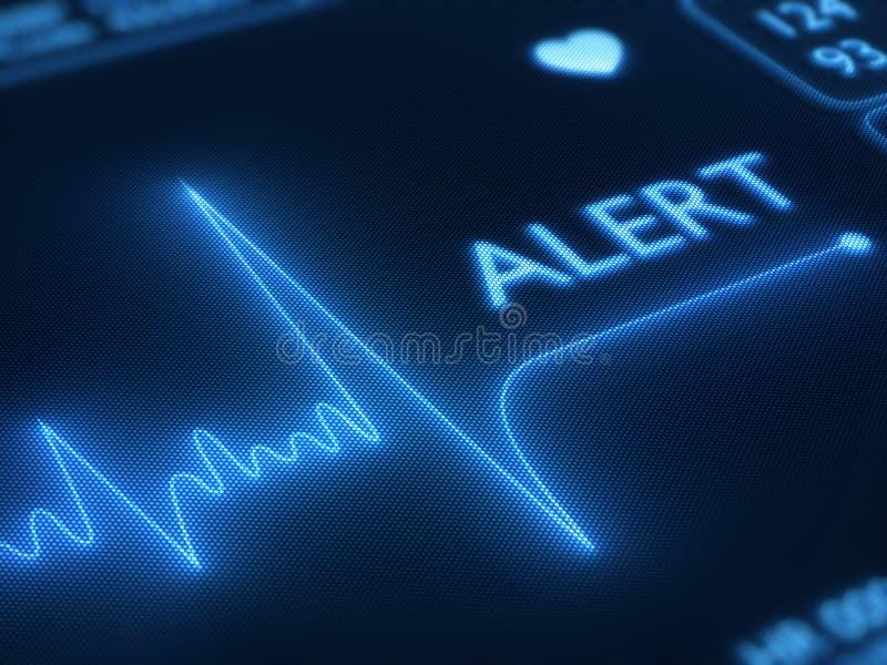 Flat line alert on heart monitor. Flat line alert on a heart monitor - 3d render on detail pixellated screen stock illustration