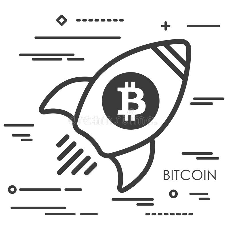 Flat line art concept illustration of spaceship with bitcoin cry vector illustration