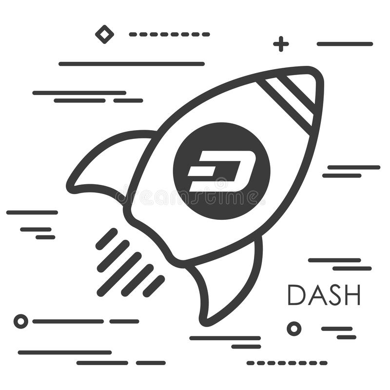 Flat line art concept illustration of spaceship with dash crypto vector illustration
