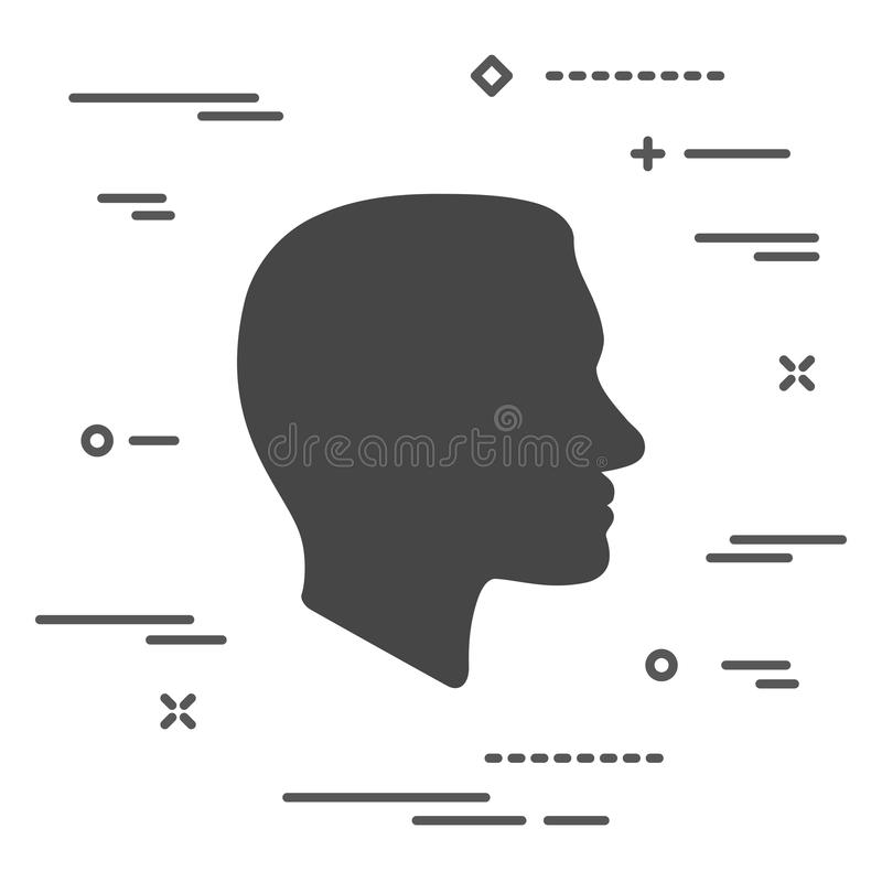 Flat Line art design graphic image concept of Face profile icon. On a white background stock illustration