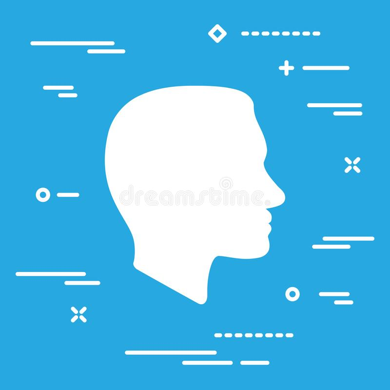 Flat Line art design graphic image concept of Face profile icon. On a blue background vector illustration