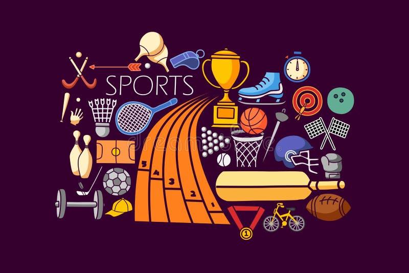 Flat line art design of Sports concept. Vector illustration of flat line art design of Sports concept stock illustration