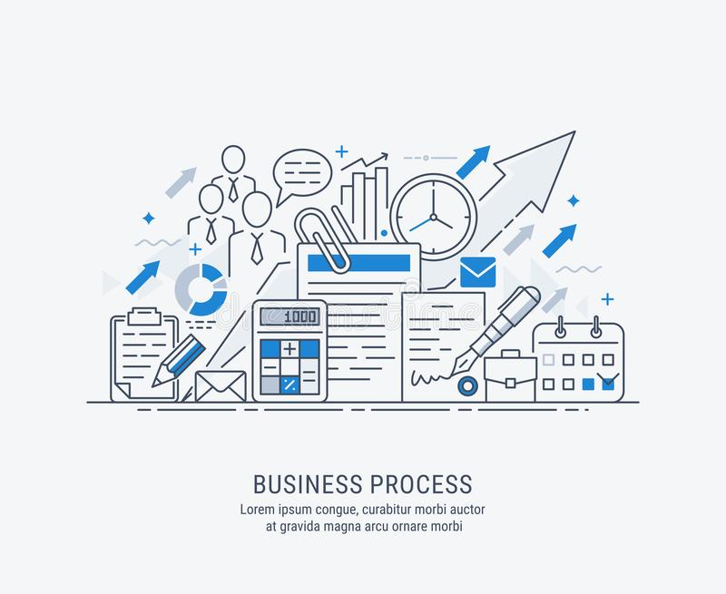 Flat line-art illustration of business process. Market research, analysis, planning, business management, strategy, finance and investment, business success royalty free illustration