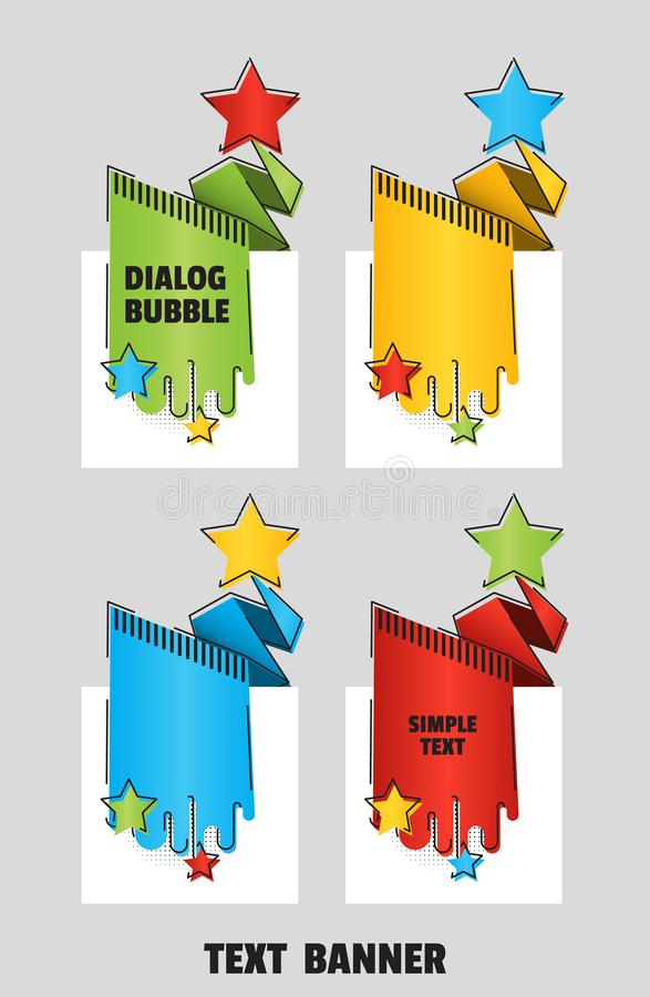 Flat line art style. Paper origami speech bubble for design of advertisement label, sticker. Banners for new year sales vector illustration