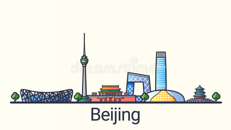 Flat line Beijing banner. Banner of Beijing city in flat line trendy style. Beijing city line art. All buildings separated and customizable stock illustration