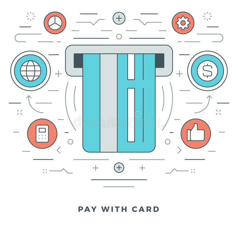 Flat line Business Concept Credit Card Payment. Vector illustration. Modern thin linear stroke vector icons. Website Graphics, Banner, Infographics Design stock illustration