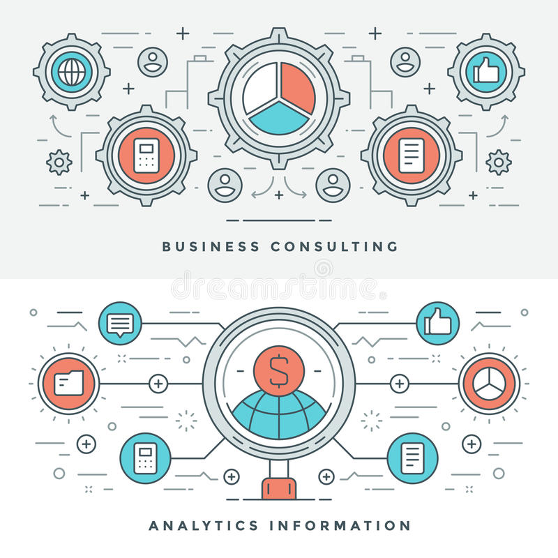 Flat line Business Consulting and Analytics. Vector illustration. Modern thin linear stroke vector icons. vector illustration