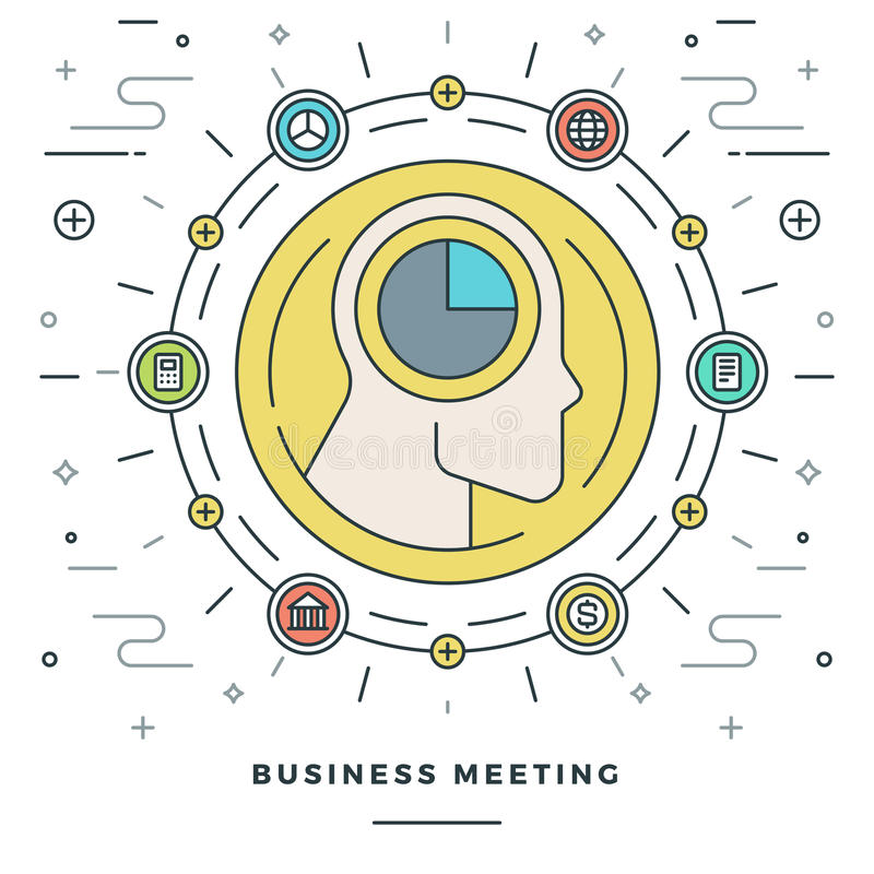 Flat line Business Meeting and Analysis Concept Vector illustration. stock illustration