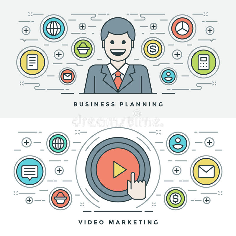 Flat line Business Planning and Video Marketing. Vector illustration. Modern thin linear stroke vector icons. Website Header Graphics, Banner, Infographics stock illustration