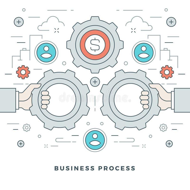 Flat line Business Process Concept Vector illustration. Modern thin linear stroke vector icons. Website Header Graphics, Banner, Infographics Design vector illustration