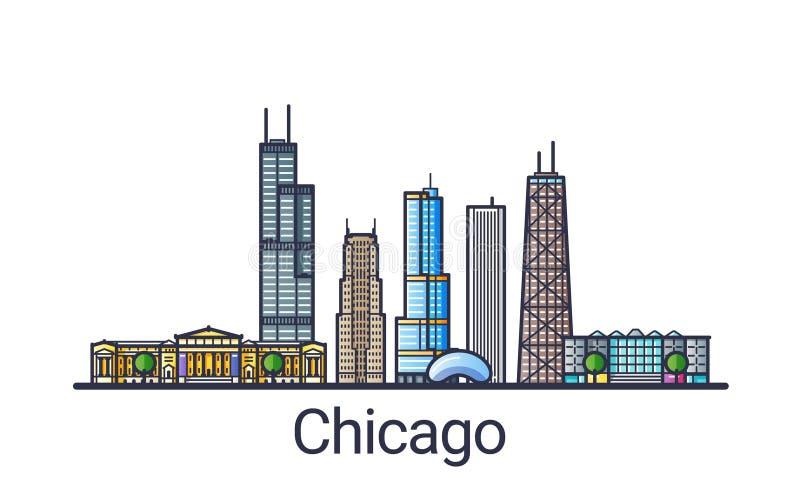 Flat line Chicago banner vector illustration