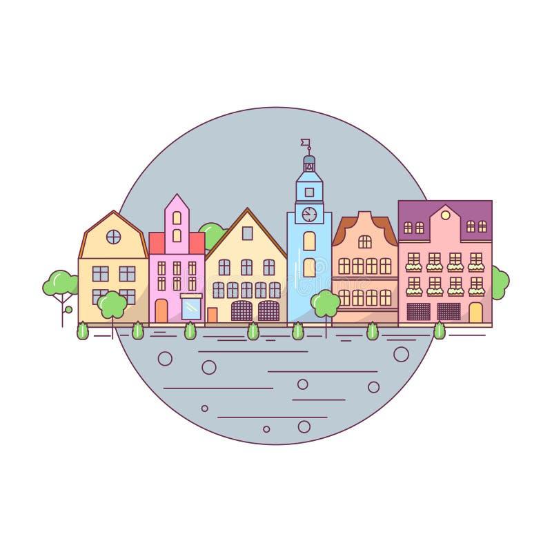 Flat Line city landscape icon, website elements layout of Urban Landscape. vector illustration