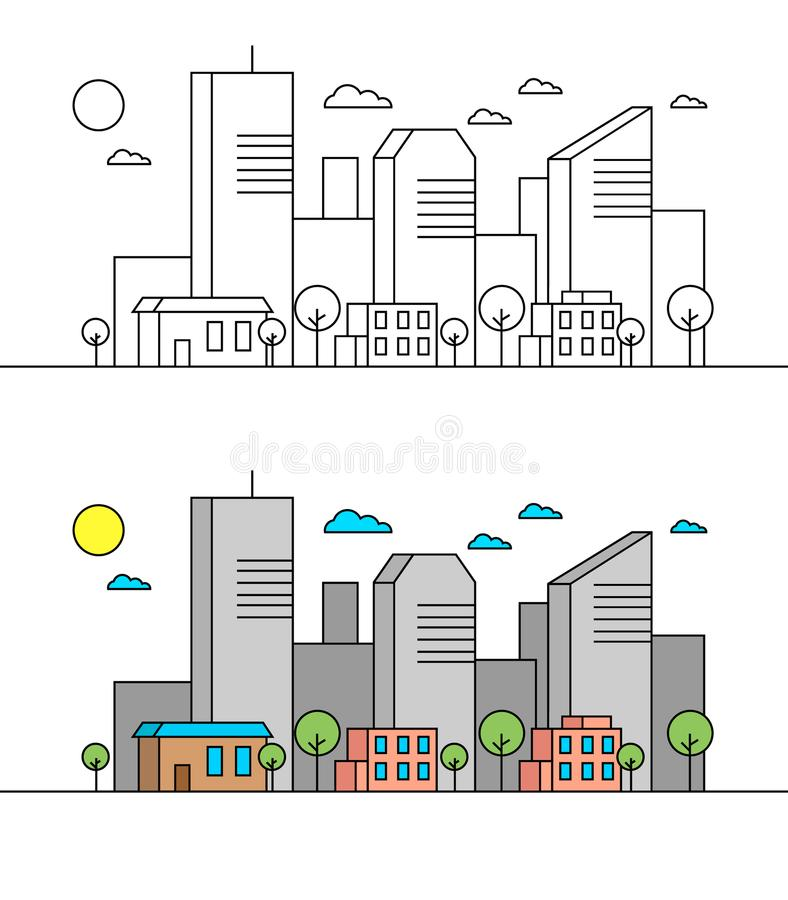 Flat line city street landscape view concept with buildings, trees, shops. Editable strokes. Minimal linear icon illustration. stock illustration