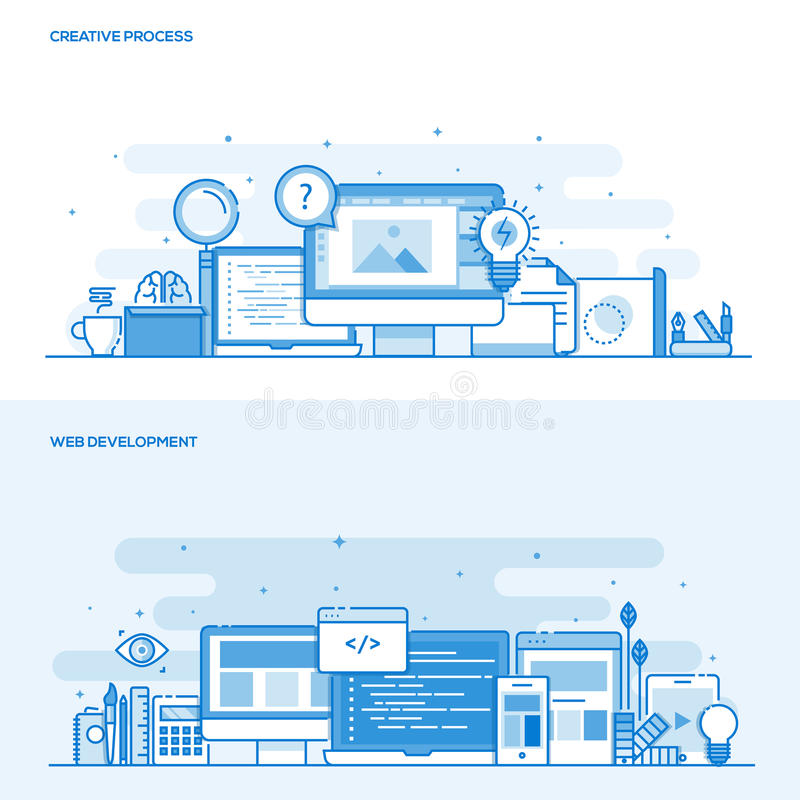 Flat line color concept- Creative Process and Web Development royalty free illustration