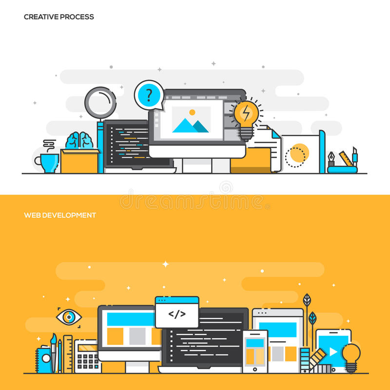 Flat line color concept- Creative Process and Web Development vector illustration