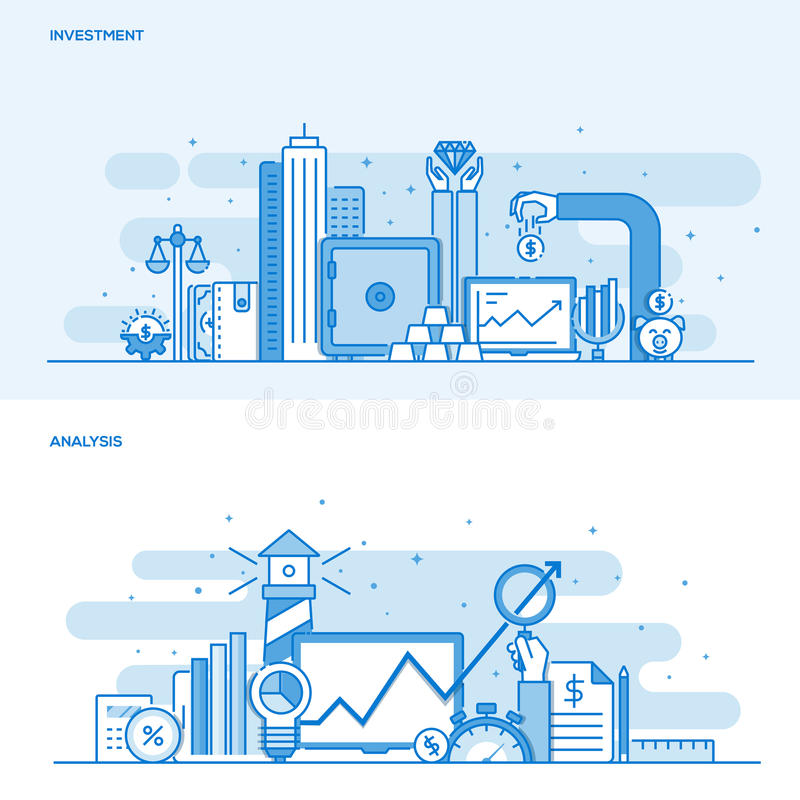 Flat line color concept- Investment and Analysis. Set of Flat Line Color Banners Design Concepts for Investment and Analysis. Concepts web banner and printed royalty free illustration