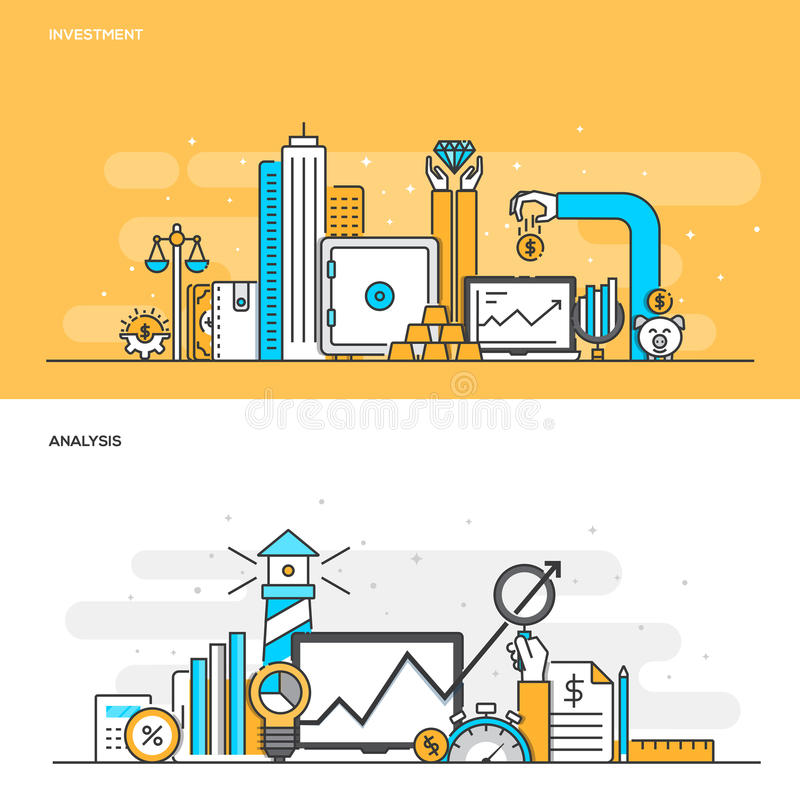 Flat line color concept- Investment and Analysis. Set of Flat Line Color Banners Design Concepts for Investment and Analysis. Concepts web banner and printed stock illustration