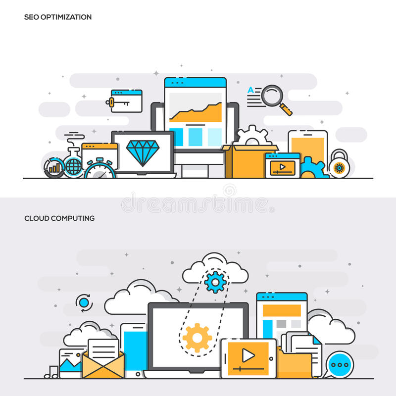 Free Flat Line Color Concept- Seo And Cloud Computing Stock Photo - 80205390
