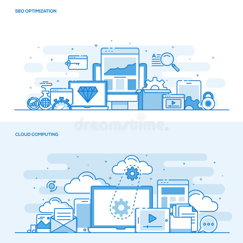 Flat line color concept- Seo and Cloud computing. Set of Flat Line Color Banners Design Concepts for SEO Optimization and Cloud Computing. Concepts web banner royalty free illustration