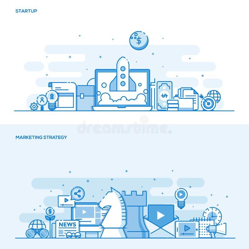 Flat line color concept- Startup and Marketing Strategy. Set of Flat Line Color Banners Design Concepts for Startup and Marketing Strategy. Concepts web banner vector illustration