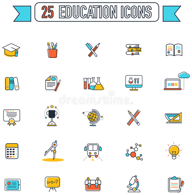 Flat line color education and subject tool equipment royalty free illustration